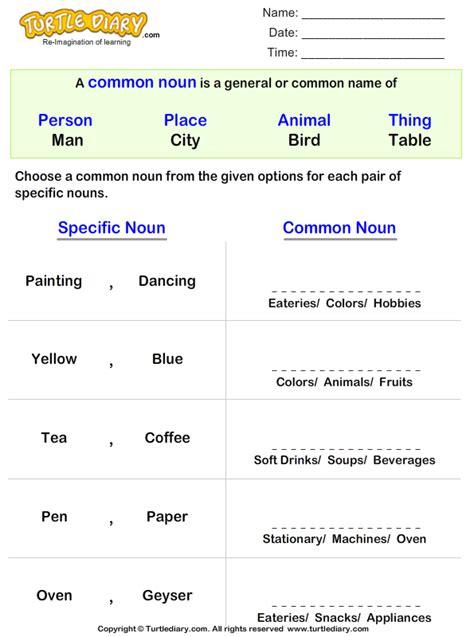 switching proper nouns  common noun worksheet turtle diary