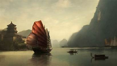 Chinese Wallpapers Fantasy Ships Sailing Ship Painting