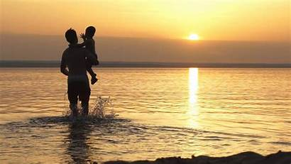 Son Father Sunset Background Sea Wallpapers Dad