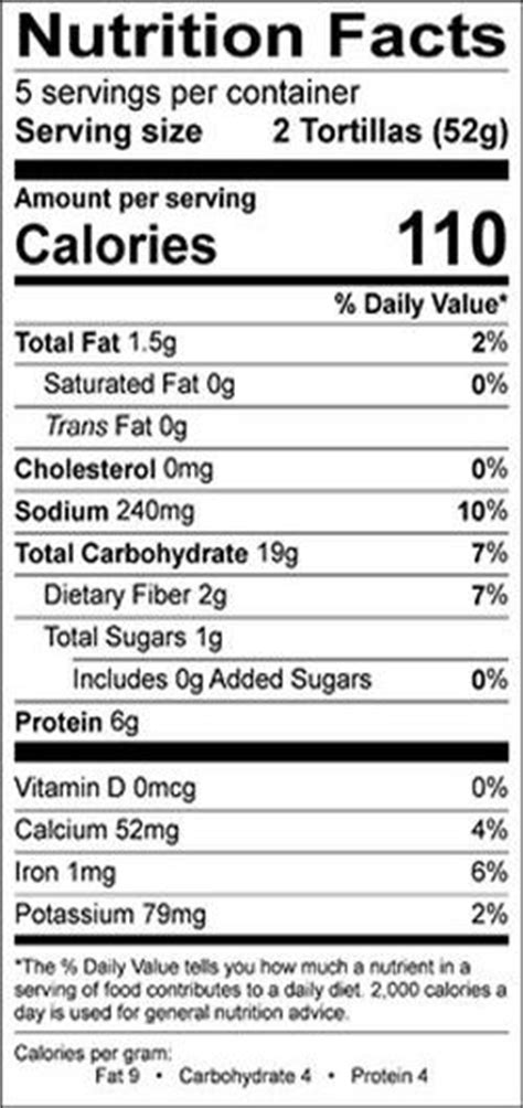 wheat flour tortilla nutrition facts