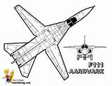 Coloring Pages Fighter Airplane Jet Military Aardvark F111 Plane Jets Sheet Yescoloring Colouring Air Force Airplanes Super F14 Su Mighty sketch template