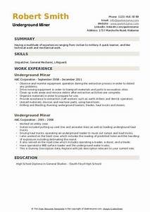 resume knowledge and skills underground miner resume samples qwikresume