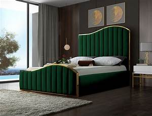 Jolie, Bed, In, Green, Velvet, Fabric, By, Meridian, W, Options