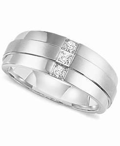 triton men39s three stone diamond wedding band ring in With stainless steel wedding rings men