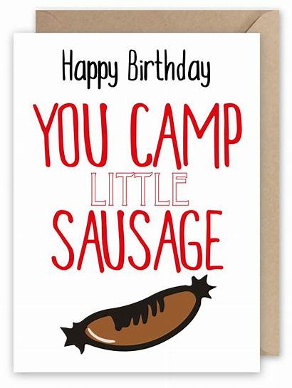 Happy Birthday Camp Sausage Card Greeting 1st