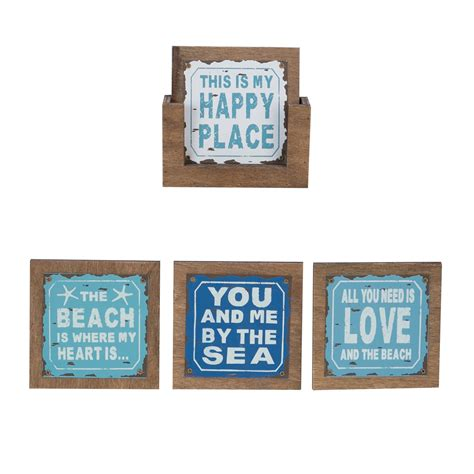 set 4 beach sayings coasters beachcombers coastal life