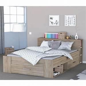 Lit en bois avec tiroir imitation chene brosse 160x200 for Nettoyage tapis avec canapé avec tiroir lit