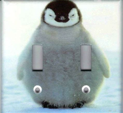 Baby Penguin Home Wall Decor Double Light Switch Plate