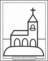 Church Coloring Sheets Children Pages Preschool Catholic Printable Sheet Sanctuary Simple Saintanneshelper Template sketch template