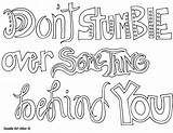 Coloring Quote Doodle Attitude Alley Behind Stumble Something sketch template