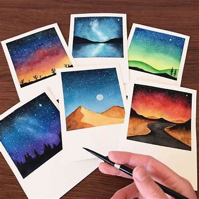 Polaroid Watercolor Sunset Canvas Painting Paintings Chiara