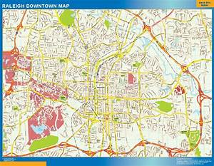 World Wall Maps Store: Raleigh Downtown map . More than 10 ...