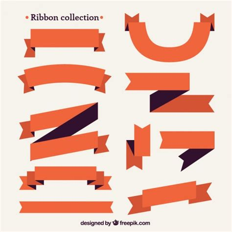 Ribbon Flat flat orange ribbon collection vector premium