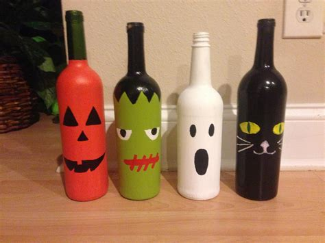 crafts with wine bottles wine bottle halloween craft project holidays pinterest