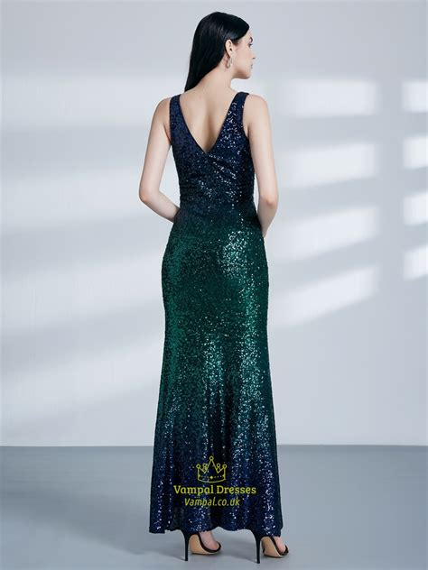 emerald green  neck sleeveless sequin long prom dress  split vampal dresses