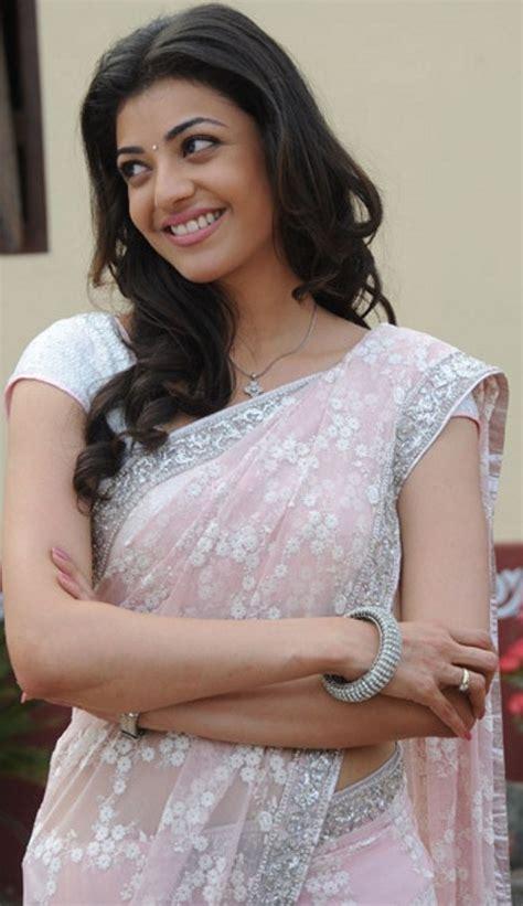kajal agarwal pink saree atozactress