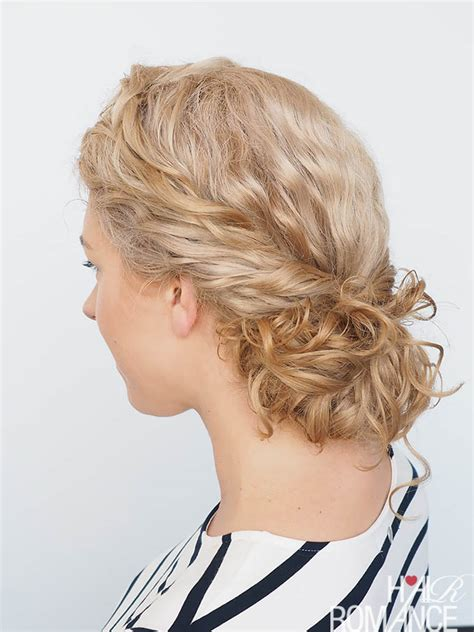 easy curly hairstyle tutorial curly twist bun hair romance