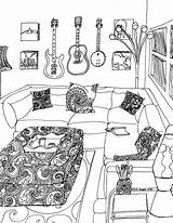 Coloring Adult Relaxing Scenes Rooms Colouring Soothing Behance Barbie Scene Mandalas Addiction Sheets Drawings sketch template