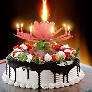 Cake Topper Lotus Flower Decoration Birthday Candle ...