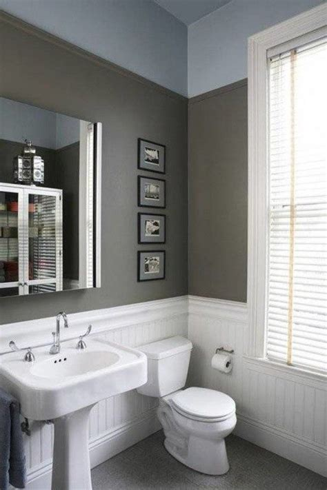 white beadboard wainscoting  bathroom  grey wall