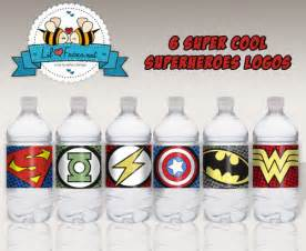baby shower bottle favors superheroes logos water bottle labels printable pdf