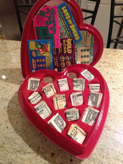 valentine chocolate heart box  cash  lottery