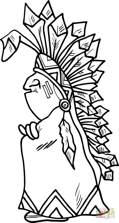 indian chief coloring page  printable coloring pages