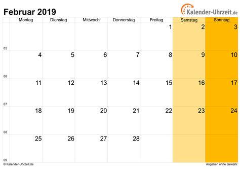 februar kalender mit feiertagen