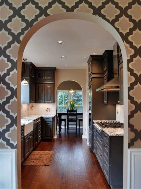Painted Kitchen Cabinet Ideas - quatrefoil wallpaper contemporary kitchen behr dark granite jason ball interiors