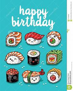 Sushi Emoji Greeting Card With Text Happy Birthday Stock