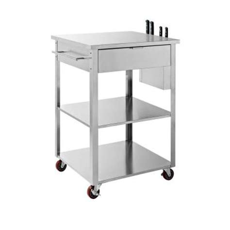 kitchen cart rolling food prep crosley culinary prep kitchen cart in stainless steel