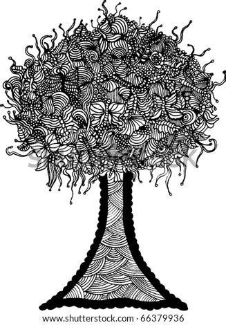 Blooming Tree Coloring Book Antistress Vector Vectores En