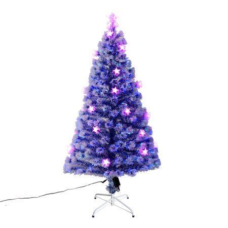 homcom christmas tree control homcom 5 ft blue artificial fiber optic and led prelit tree walmart