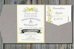 Summery yellow gray pocket fold wedding invitation for Pocket fold enclosure wedding invitations