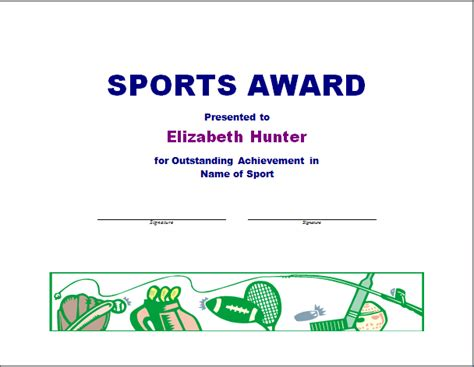 Sport Certificate Templates For Word by Sports Awards Clipart 30