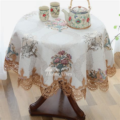 discount tablecloths  polyester embroidered blue