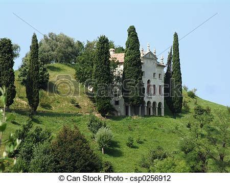 italian villa  hill italian villa  cypress trees  hill  italy