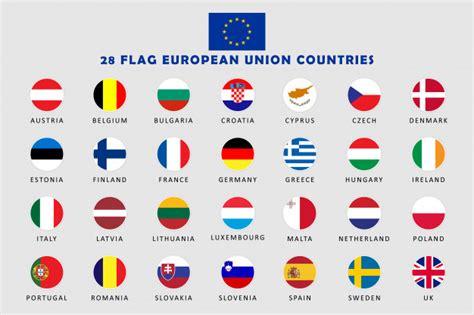aantal landen de europese unie ronde vlaggen premium