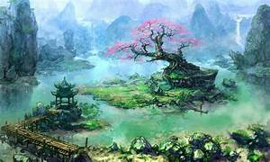 Artwork, Fantasy, Art, Trees, Asian, Architecture, Bonsai