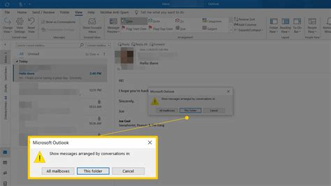 outlook thread conversation mail grouped messages conversations folders immediately apply microsoft grouping