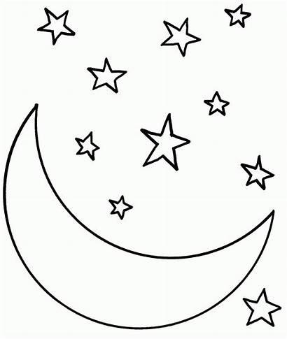 Coloring Stars Moon Printable