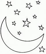 Coloring Stars Moon Printable sketch template