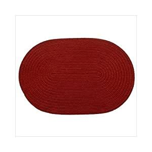 amazoncom solid brilliant red braided rug size oval