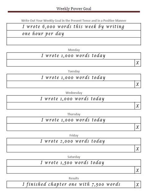 weekly goal setting worksheet