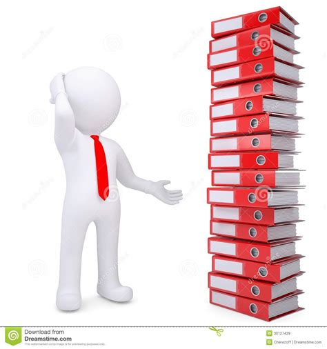 le de bureau à pile homme 3d blanc à côté de pile de dossiers de bureau