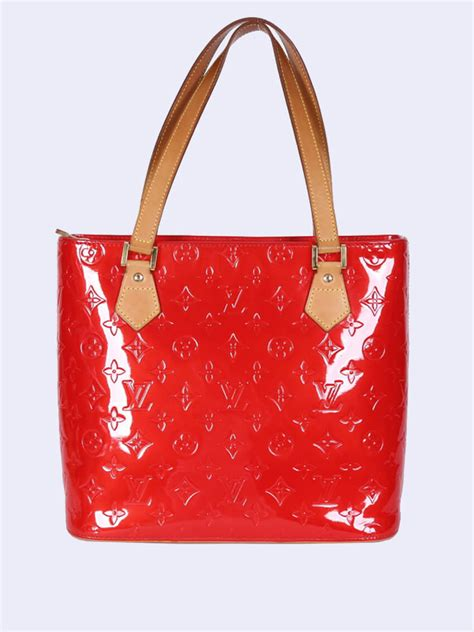 louis vuitton houston vernis leather red luxury bags