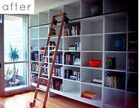 perfect wall ladder bookshelf before & after: sarah's shelving wall – Design*Sponge