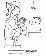 Nursery Little Coloring Rhymes Muffet Miss Mother Goose Rhyme Pages Embroidery Sheets Bluebonkers Quiz Printable Fun Characters Hand Children Patterns sketch template