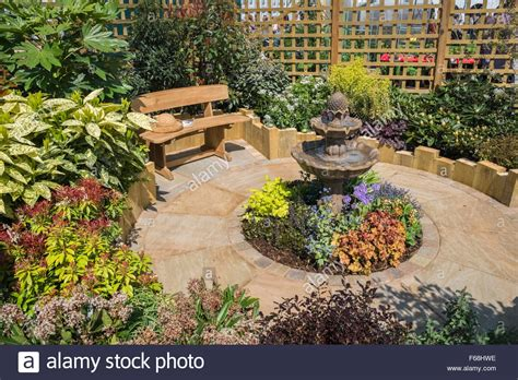 Garden With Seating Area Designed For A Small Space Stock