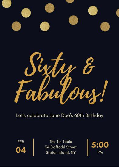 black  gold polka dot  birthday invitation